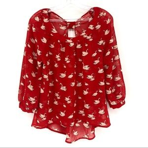 FOREVER 21 swan print all over red top blouse